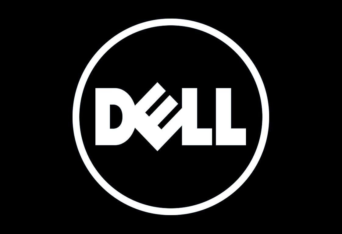 عکسی از برند dell بصورت بزرگ و سیاه سفید